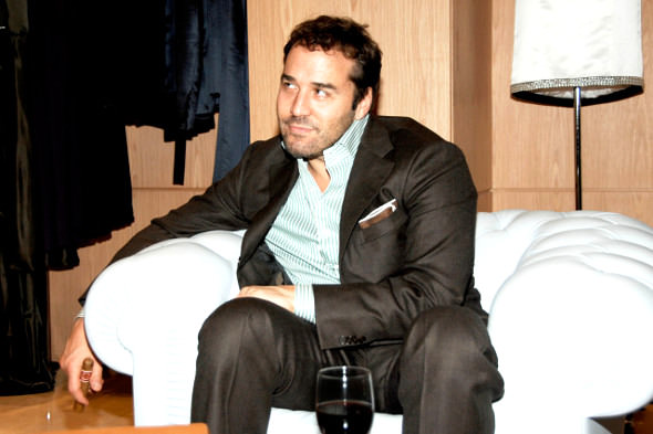 Jeremy Piven with cigar and red wine