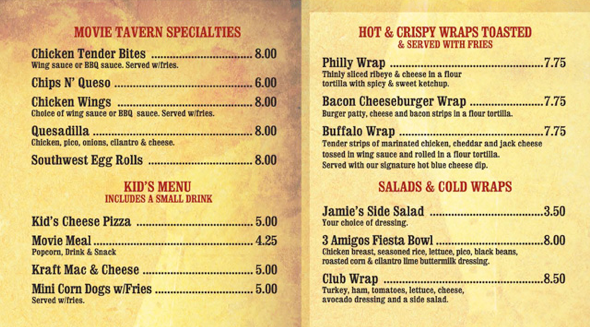 Williamsburg Movie Tavern Food Menu