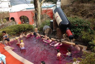 japanese spa fills a swimming pool with wine