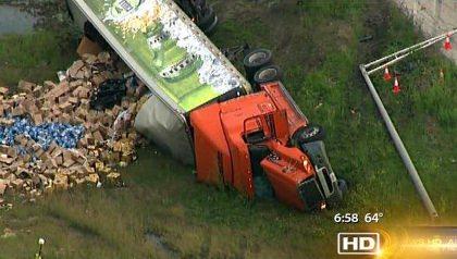 Miller Lite Semi Truck Crash
