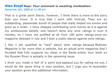 Alan Kropf's Unposted Comment on Steve Heimoff's Blog